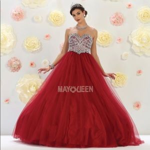 Strapless Red Glitter Ball Gown